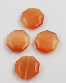 Octagon Cat's Eyes bead 28mm apricot