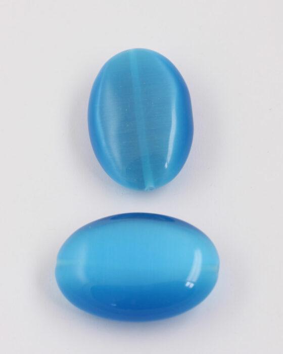 oval cat's eyes bead 40x28mm Blue