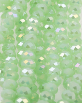 Bead, crystal faceted rondelle AB effect , 9 x 12 mm. Sold per strand of approx. 36 beads