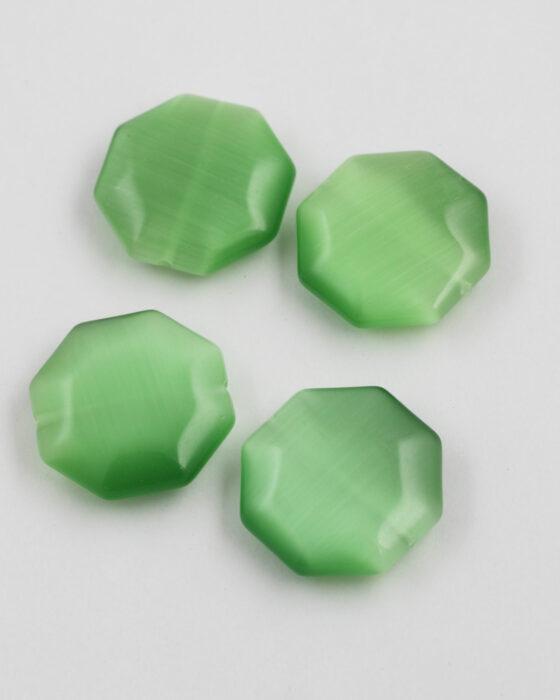 Octagon Cat's Eyes bead 28mm green