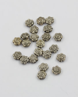 Flat rose metal bead antique silver