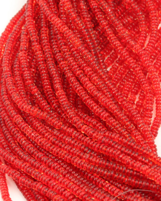 small disc shape beads 2x4mm red transparent