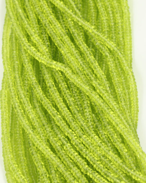 small disc shape beads 2x4mm lime transparent