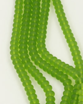 Disc Shape Glass Beads 7x11mm. Sold per strand approx 58 beads lime frosted