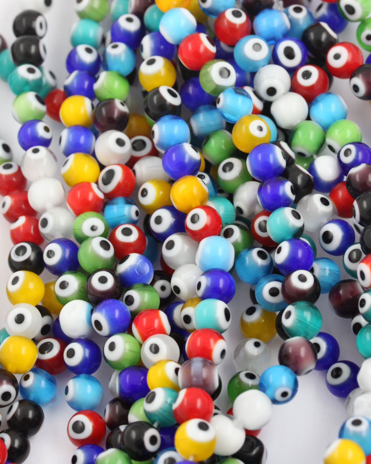 50 x 8mm Mixed Evil Eye Resin Oval Beads