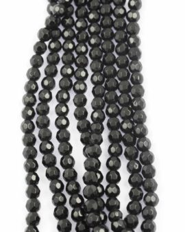 Faceted round glass bead 8mm black