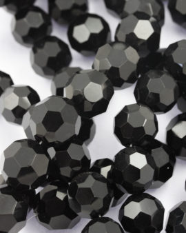 glass round faceted beads 20mm black