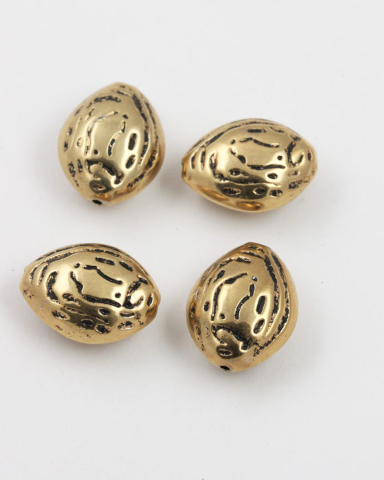almond shape bead gold