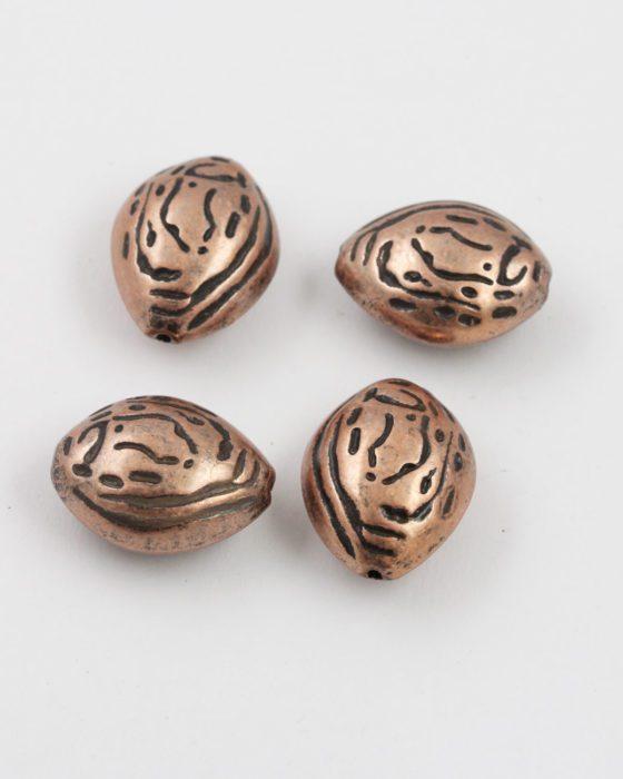 almond shape bead antique copper