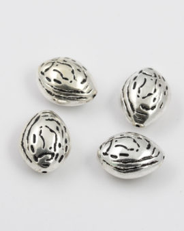 almond shape bead silver