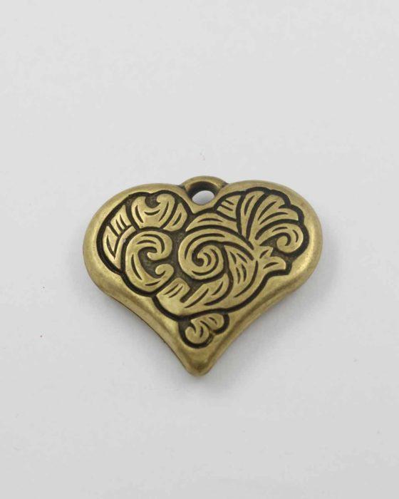 Heart pendant acrylic plated gold NZ