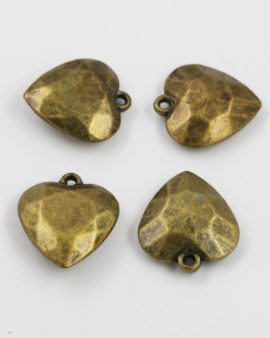 acrylic plated heart pendant antique brass