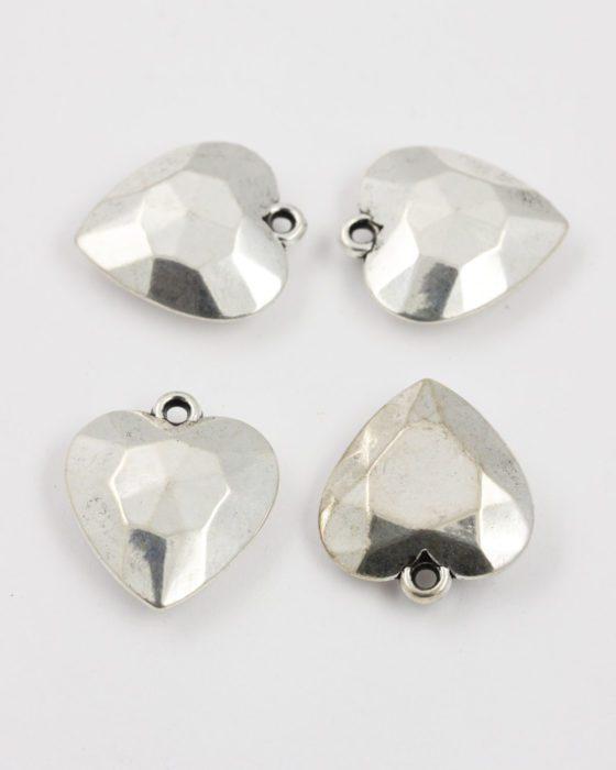acrylic plated heart pendant silver