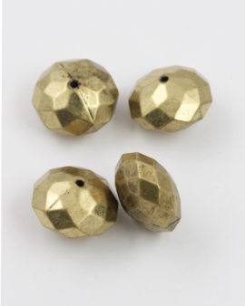 faceted donut shape bead antique brass coating