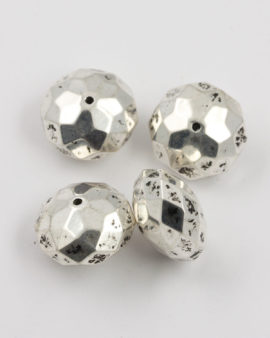 faceted donut shape bead silver coating