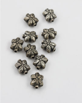 square leaf shape bead antique silver