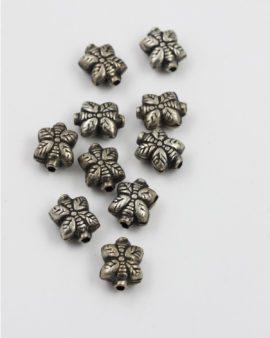 square leaf shape bead antique silver