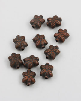 square leaf shape bead antique copper