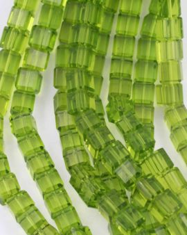 Hand cut crystal cube 12mm lime