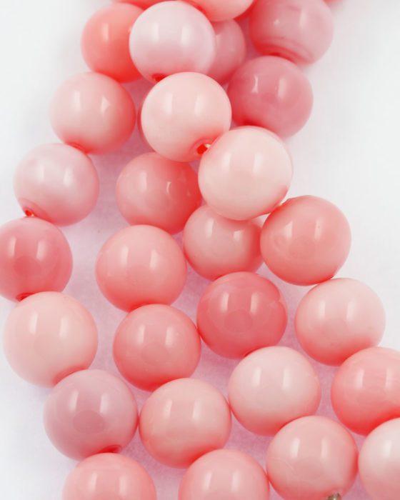 mouth blown 20mm pink opal