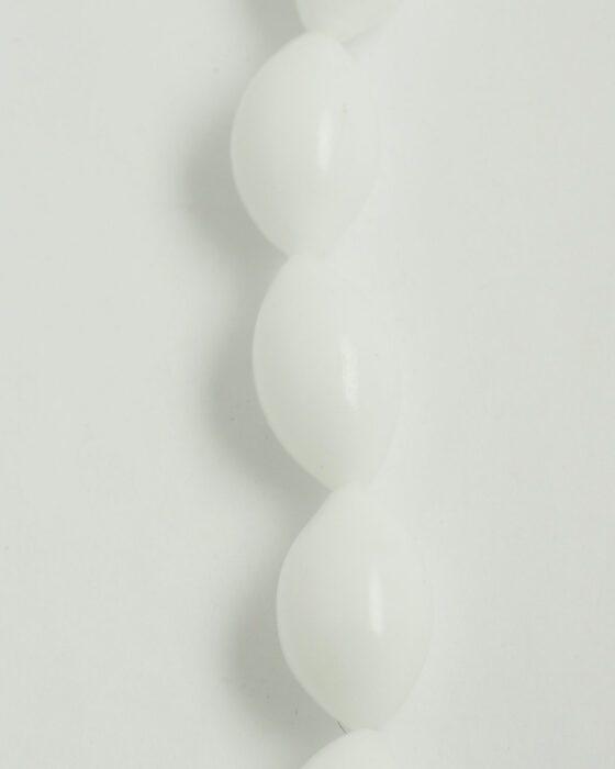 Blown Glass Olive Shape 19x32mm white opal
