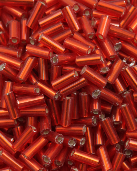 Bugle Beads 6 mm Red Silver Lined