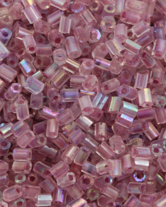 Transparent Bugle Beads approx. 2 mm Old Pink Iridescent
