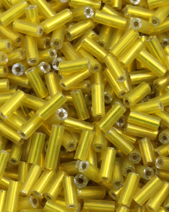 Bugle Beads 6 mm Yellow Silver Lined