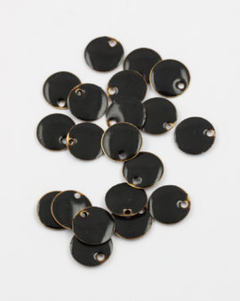 round enamelled charm 12mm black