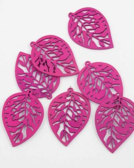Laser cut wood leaf pendant pink
