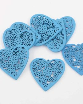 Laser cut wood heart pendant blue