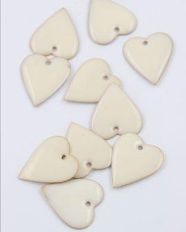 Heart enamelled charm 25mm white