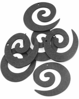Laser cut wood koru pendant black