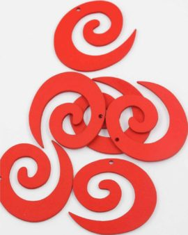 Laser cut wood koru pendant red