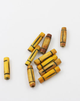 Bone Bead Cylinder Yellow 20x7mm