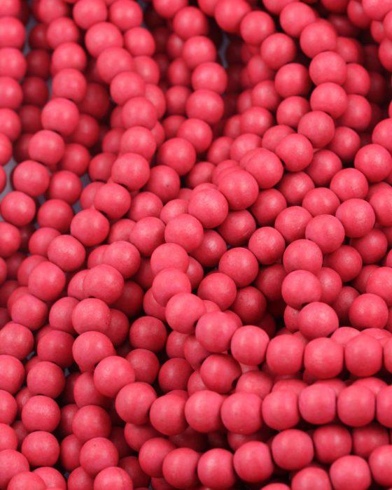 wooden beads 8mm fuschia