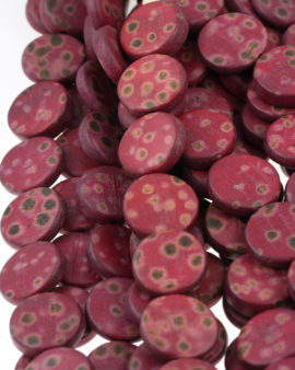wooden coin beads maroon