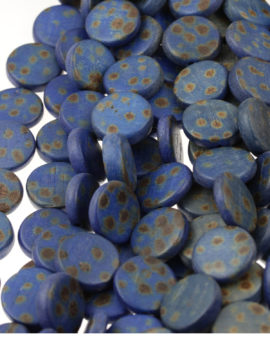 wooden coin beads royal blue