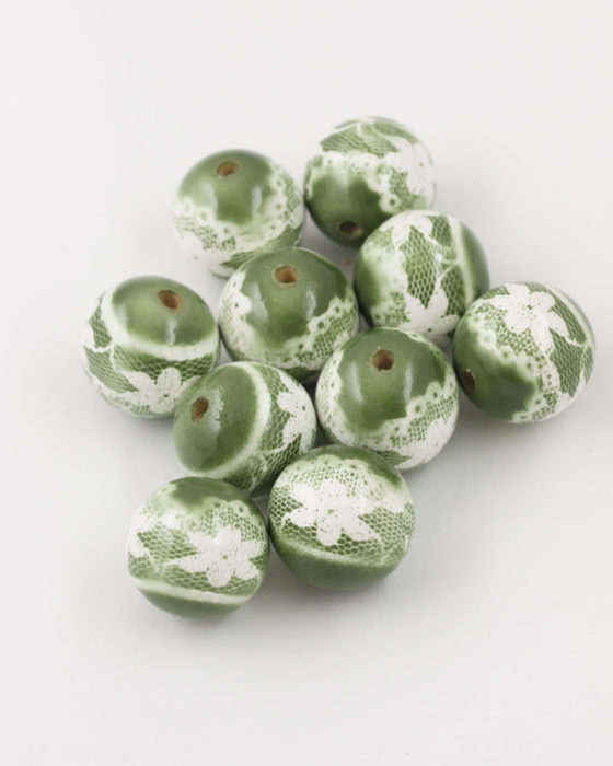 Flower Lace Painted On Wooden Beads 25mm green