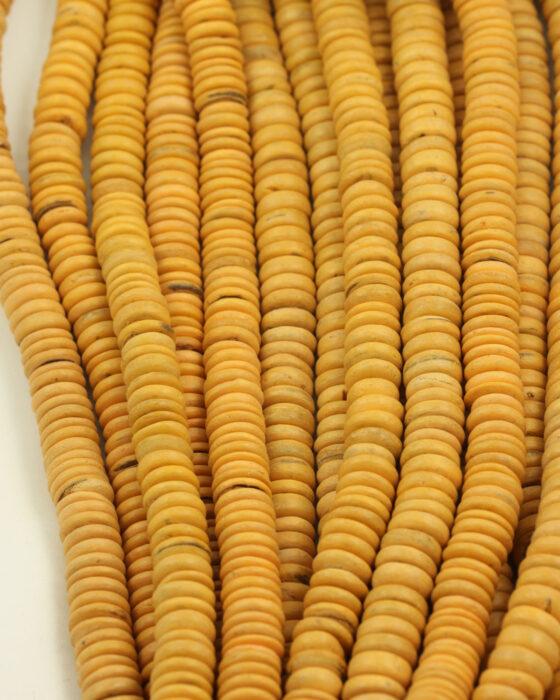 Coconut Wood Flat Disc 10mm Cadium Yellow