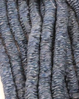 Coconut Wood Carved Flower 15mm Denim Blue