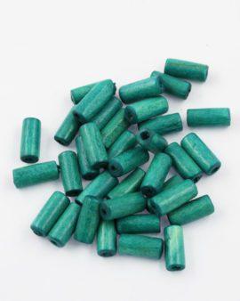 wood cylinder beads turquoise