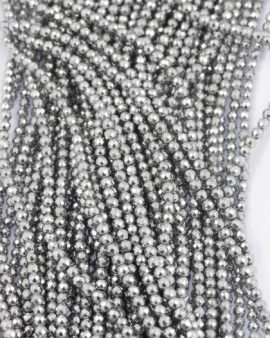 Hematite faceted platinum bead 4mm