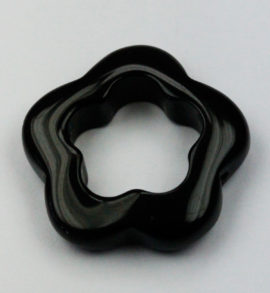 23 mm Obsidian flower ring - Sold per string - approx 20 pieces per string