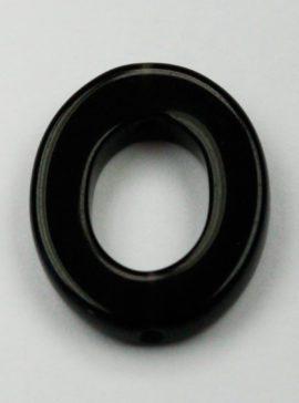 21 x 18 mm Obsidian Oval ring - Sold per string, approx 20 pcs per string