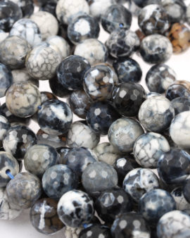 faceted agate beads grey black