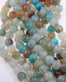 faceted agate beads blue