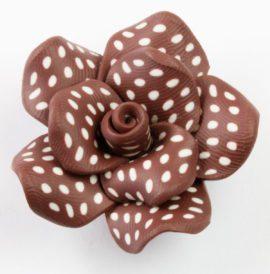 fimo flower bead brown