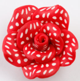 fimo flower bead red