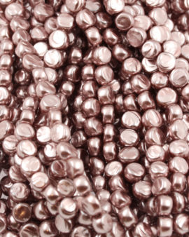 Imitation glass pearl fat coin dark pink